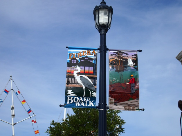 Eureka boardwalk banner, above.