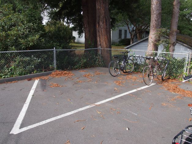 bicycle rack moved to rear parking lot.